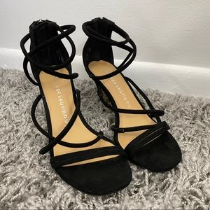 Chinese Laundry Black Suede Strappy Heels 6.5